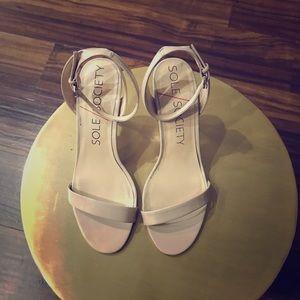 Nude skinny strap sole society heels